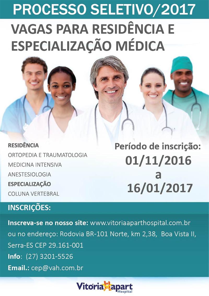 Processo Seletivo 2017 – Vagas para Residência e Especialização Médica – Vitória  Apart Hospital – ES – Clínica Avançada OrtoBone