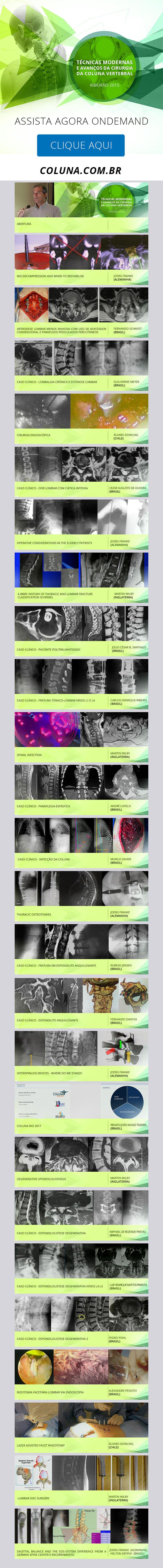 Assista Agora ONDEMAND o Curso Técnicas Modernas e Avançadas da Cirurgia da Coluna Vertebral