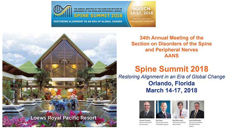 Spine Summit 2018 - 34th Annual Meeting of the Section on Disorders of the Spine and Peripheral Nerves