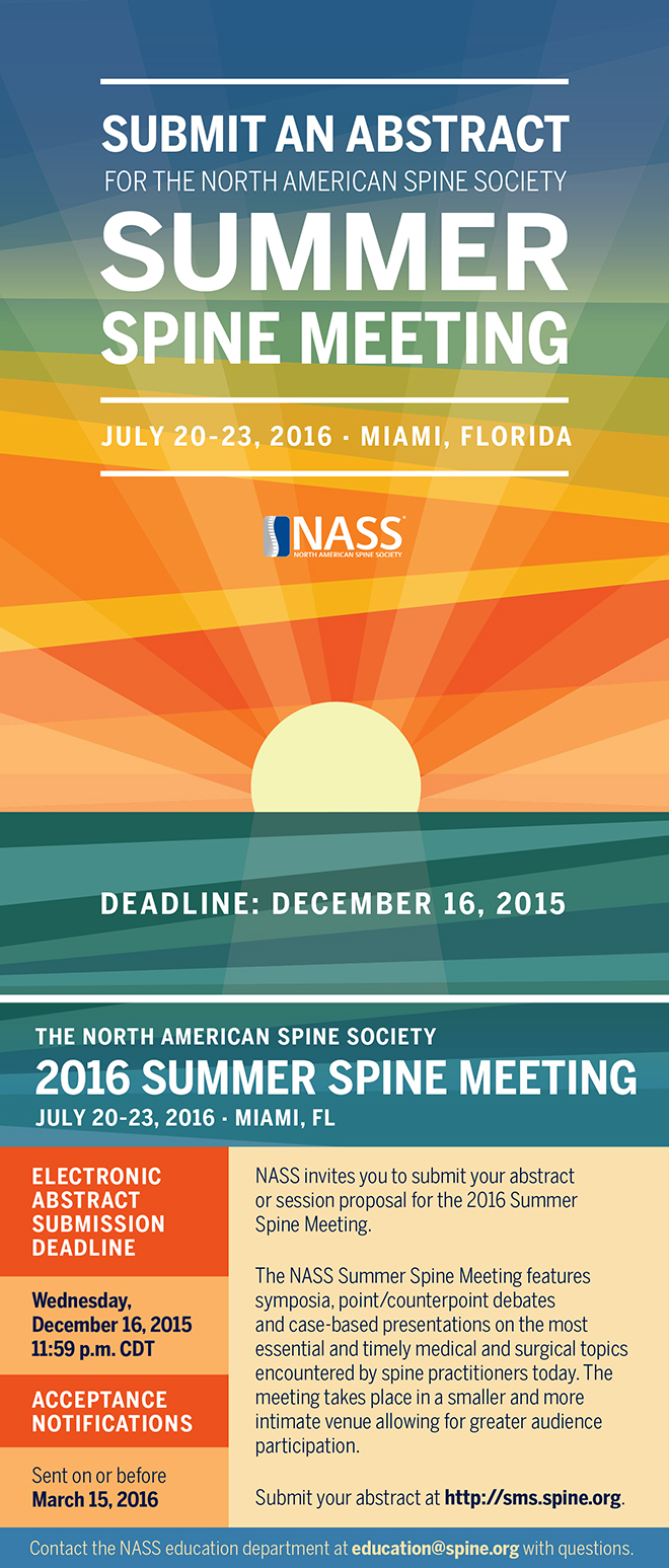 Submit an Abstract (NASS - Summer Spine Meeting 2016)